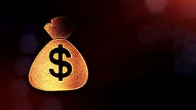 Dollar sign in emblem of bag. Finance background of luminous particles. 3D loop animation with depth of field, bokeh and. Copy space for your text vector illustration