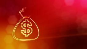 Dollar sign in emblem of bag. Finance background of luminous particles. 3D seamless animation with depth of field, bokeh. And copy space for your text royalty free illustration