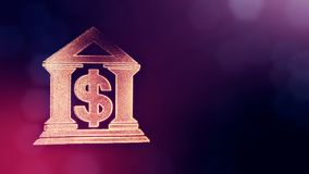 Dollar sign in emblem of a bank. Finance background of luminous particles. 3D loop animation with depth of field, bokeh. And copy space for your text stock illustration