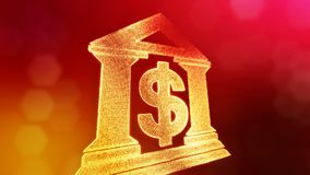 Dollar sign in emblem of a bank. Finance background of luminous particles. 3D loop animation with depth of field, bokeh. And copy space for your text vector illustration