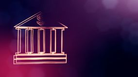 Dollar sign in emblem of bank. Finance background of luminous particles. 3D seamleass animation with depth of field. Bokeh and copy space for your text vector illustration