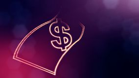 Dollar sign in emblem of banknote. Finance background of luminous particles. 3D seamless animation with depth of field. Bokeh and copy space for your text royalty free illustration