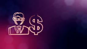 Dollar sign and emblem of businessman. Finance background of luminous particles. 3D loop animation with depth of field. Bokeh and copy space for your text vector illustration