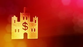 Dollar sign in emblem of castle. Finance background of luminous particles. 3D loop animation with depth of field, bokeh. And copy space for your text stock illustration