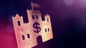 Dollar sign in emblem of castle. Finance background of luminous particles. 3D loop animation with depth of field, bokeh. And copy space for your text vector illustration