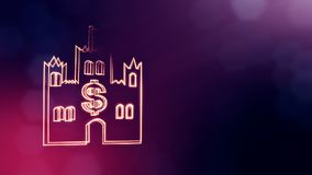 Dollar sign in emblem of castle. Finance background of luminous particles. 3D seamless animation with depth of field. Bokeh and copy space for your text royalty free illustration