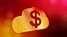 Dollar sign in emblem of cloud. Finance background of luminous particles. 3D loop animation with depth of field, bokeh. And copy space for your text stock illustration