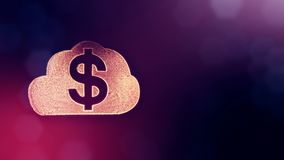 Dollar sign in emblem of cloud. Finance background of luminous particles. 3D loop animation with depth of field, bokeh. And copy space for your text vector illustration