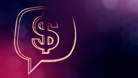 Dollar sign in emblem of cloud message. Finance background of luminous particles. 3D loop animation with depth of field. Bokeh and copy space for your text vector illustration