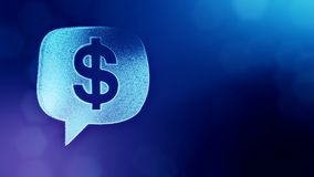 Dollar sign in emblem of cloud message. Finance background of luminous particles. 3D seamless animation with depth of. Field, bokeh and copy space for your text stock illustration