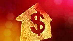 Dollar sign in emblem of a house. Finance background of luminous particles. 3D loop animation with depth of field, bokeh. And copy space for your text royalty free illustration