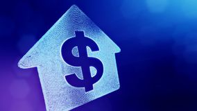 Dollar sign in emblem of a house. Finance background of luminous particles. 3D loop animation with depth of field, bokeh. And copy space for your text vector illustration