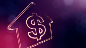 Dollar sign in emblem of a house. Finance background of luminous particles. 3D seamless animation with depth of field. Bokeh and copy space for your text royalty free illustration