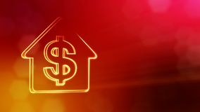 Dollar sign in emblem of a house. Finance background of luminous particles. 3D seamless animation with depth of field. Bokeh and copy space for your text vector illustration