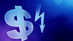 Dollar sign and emblem of lighting bolt. Finance background of luminous particles. 3D loop animation with depth of field. Dollar sign and emblem of key. Finance stock video