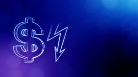 Dollar sign and emblem of lighting bolt. Finance background of luminous particles. 3D loop animation with depth of field. Bokeh and copy space for your text royalty free illustration