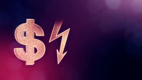 Dollar sign and emblem of lighting bolt. Finance background of luminous particles. 3D loop animation with depth of field. Dollar sign and emblem of key. Finance royalty free illustration