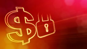 Dollar sign and emblem of lock. Finance background of luminous particles. 3D loop animation with depth of field, bokeh. And copy space for your text stock video footage
