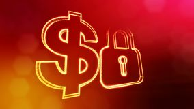 Dollar sign and emblem of lock. Finance background of luminous particles. 3D loop animation with depth of field, bokeh. And copy space for your text stock illustration
