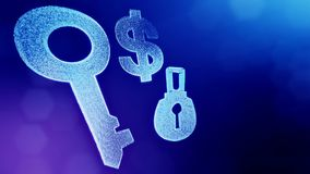 Dollar sign and emblem of lock and key. Finance background of luminous particles. 3D loop animation with depth of field. Bokeh and copy space for your text stock illustration