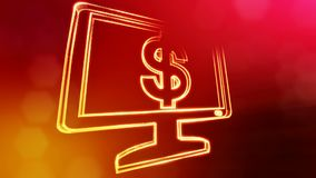 Dollar sign in emblem of monitor. Finance background of luminous particles. 3D loop animation with depth of field, bokeh. And copy space for your text stock illustration