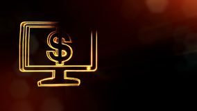 Dollar sign in emblem of monitor. Finance background of luminous particles. 3D loop animation with depth of field, bokeh. And copy space for your text vector illustration