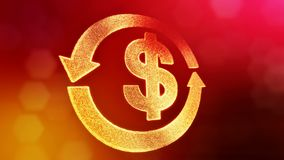 Dollar sign in emblem of round arrow. Finance background of luminous particles. 3D loop animation with depth of field. Bokeh and copy space for your text vector illustration