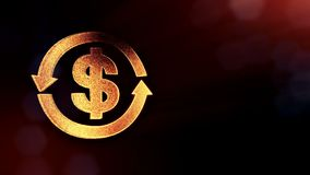 Dollar sign in emblem of round arrow. Finance background of luminous particles. 3D loop animation with depth of field. Bokeh and copy space for your text stock illustration