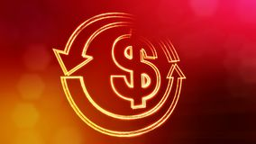 Dollar sign in emblem of round arrow. Finance background of luminous particles. 3D seamless animation with depth of. Dollar sign in emblem of round arrow vector illustration