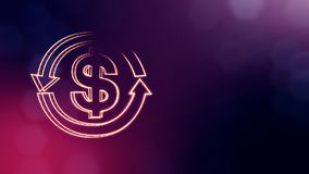 Dollar sign in emblem of round arrow. Finance background of luminous particles. 3D seamless animation with depth of. Dollar sign in emblem of round arrow stock illustration