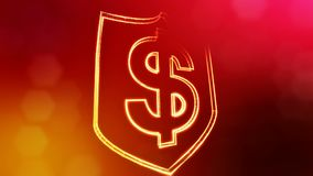 Dollar sign in emblem of shield. Finance background of luminous particles. 3D seamless animation with depth of field. Bokeh and copy space for your text royalty free illustration