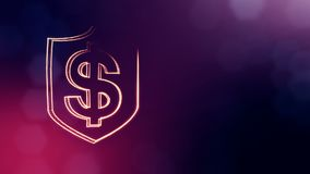Dollar sign in emblem of shield. Finance background of luminous particles. 3D seamless animation with depth of field. Bokeh and copy space for your text stock illustration