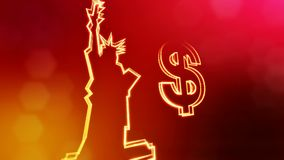 Dollar sign and emblem of The Statue of Liberty. Finance background of luminous particles. 3D loop animation with depth. Of field, bokeh and copy space for your vector illustration