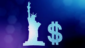 Dollar sign and emblem of The Statue of Liberty. Finance background of luminous particles. 3D loop animation with depth stock video