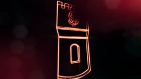 Dollar sign in emblem of a tower. Finance background of luminous particles. 3D loop animation with depth of field, bokeh. And copy space for your text royalty free illustration