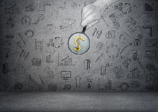 Dollar sign enlarged by magnifier in man's hand with business doodles. Dollar sign enlarged by a magnifier in a man's hand on the background with business Stock Images