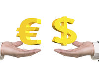 Dollar sign Euro symbol on hands foreign exchange concepts. Dollar sign on right hand and Euro symbol on left hand, foreign exchange concepts Royalty Free Stock Photo