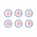 Dollar sign, euro symbol, pound icon, ruble coin, financial currency exchange. Currency signs, money exchange, dollar euro pound yen ruble coins, vector mono Stock Photo
