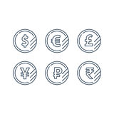 Dollar sign, euro symbol, pound icon, ruble coin, financial currency exchange. Currency signs, money exchange, dollar euro pound yen ruble coins, vector mono Stock Photography