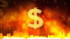 Dollar sign on fiery background, money rules the world, budget adoption, finance. Stock footage Royalty Free Stock Photography