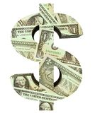 Dollar sign filled with dollar bills Stock Images