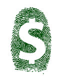Dollar sign fingerprint illustration design. Over white background Royalty Free Stock Photography
