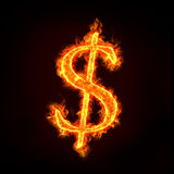 Dollar sign in fire. With flames, for money concepts royalty free stock image