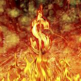 Dollar sign and fire flames. Conceptual image of burning dollar sign and fire flames Stock Photography
