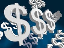 Dollar Sign Fliying. Dollar Signs flying in blue color background Stock Photo