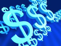 Dollar Sign Fliying. Dollar Signs flying in blue color background Royalty Free Stock Photo