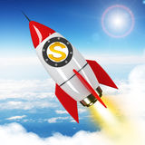 Dollar sign flying in sky on drawn rocket Royalty Free Stock Image