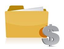 Dollar sign and folder Royalty Free Stock Photo