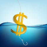 Dollar sign. In the form of a float and a fishing hook Stock Photography
