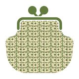 Money wallet icon. Dollar sign in form of paper dollar cash banknotes wallet, purse. Set a various kind of money. Flat vector cartoon money illustration. Objects Royalty Free Stock Photo